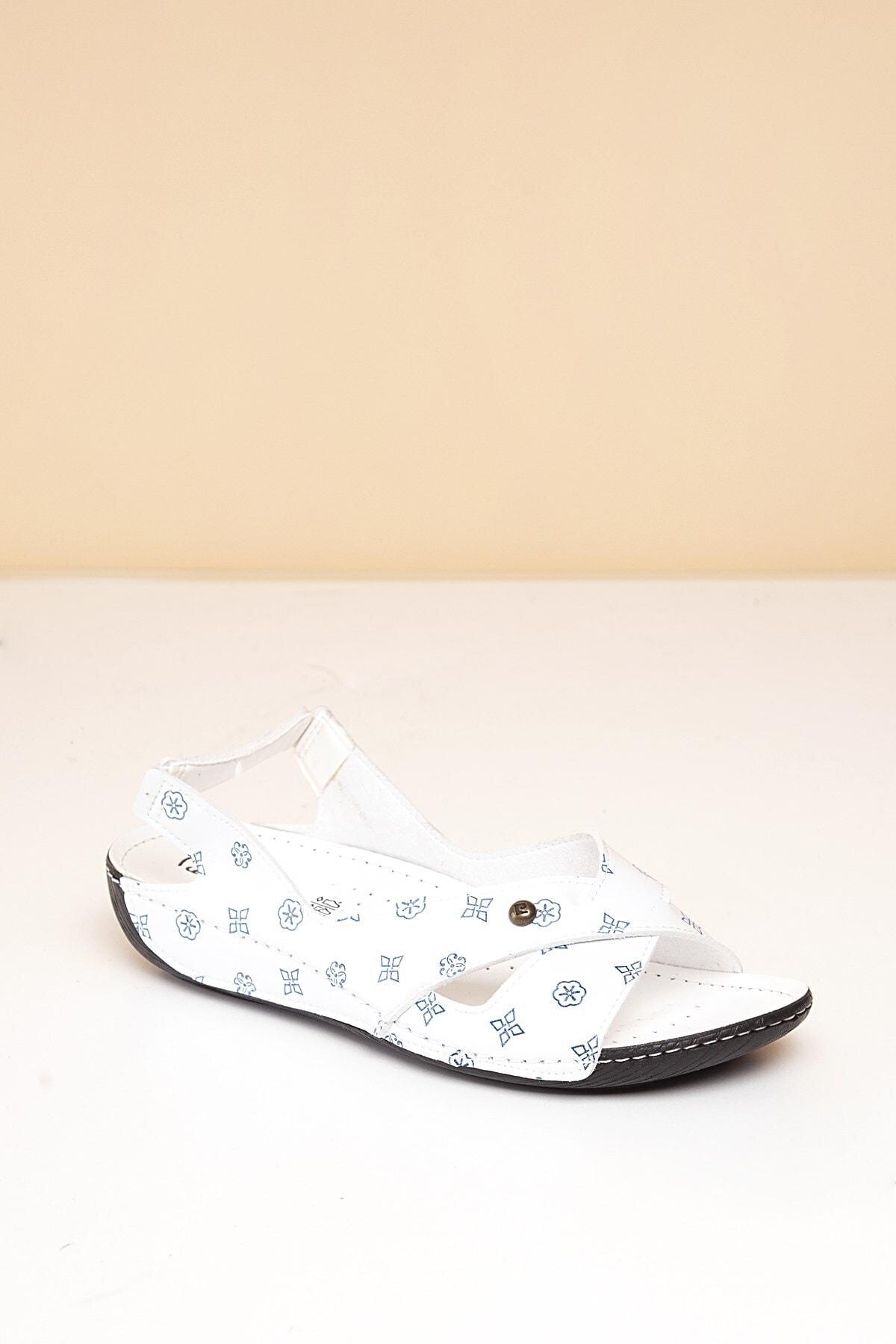 Pierre Cardin PC-1361 Beyaz-Lacivert Kadın Sandalet 2