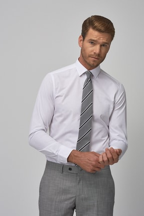 ALTINYILDIZ CLASSICS Erkek Beyaz Tailored Slim Fit Klasik Gömlek 4A2000000001