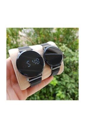 Spectrum Siyah Hasır Mıknatıslı Kordon Siyah Kasa Dokunmatik Sevgili Saatleri