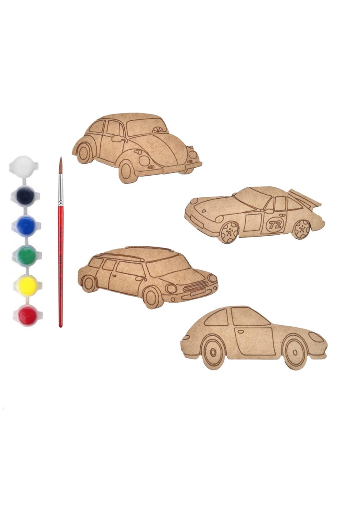 Tahtakurusu Tasarım Eğitici Ahşap Boyama Seti Arabalar 01 1