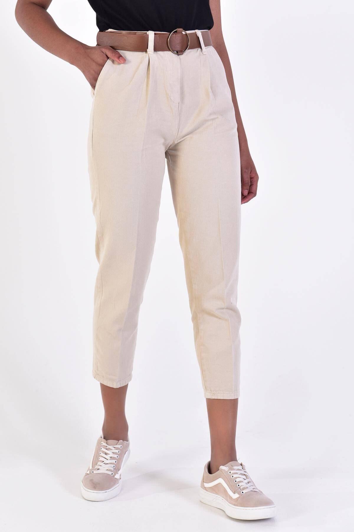 Addax Kadın Taş Kemerli Pantolon PN4204 - DK1 ADX-0000020952