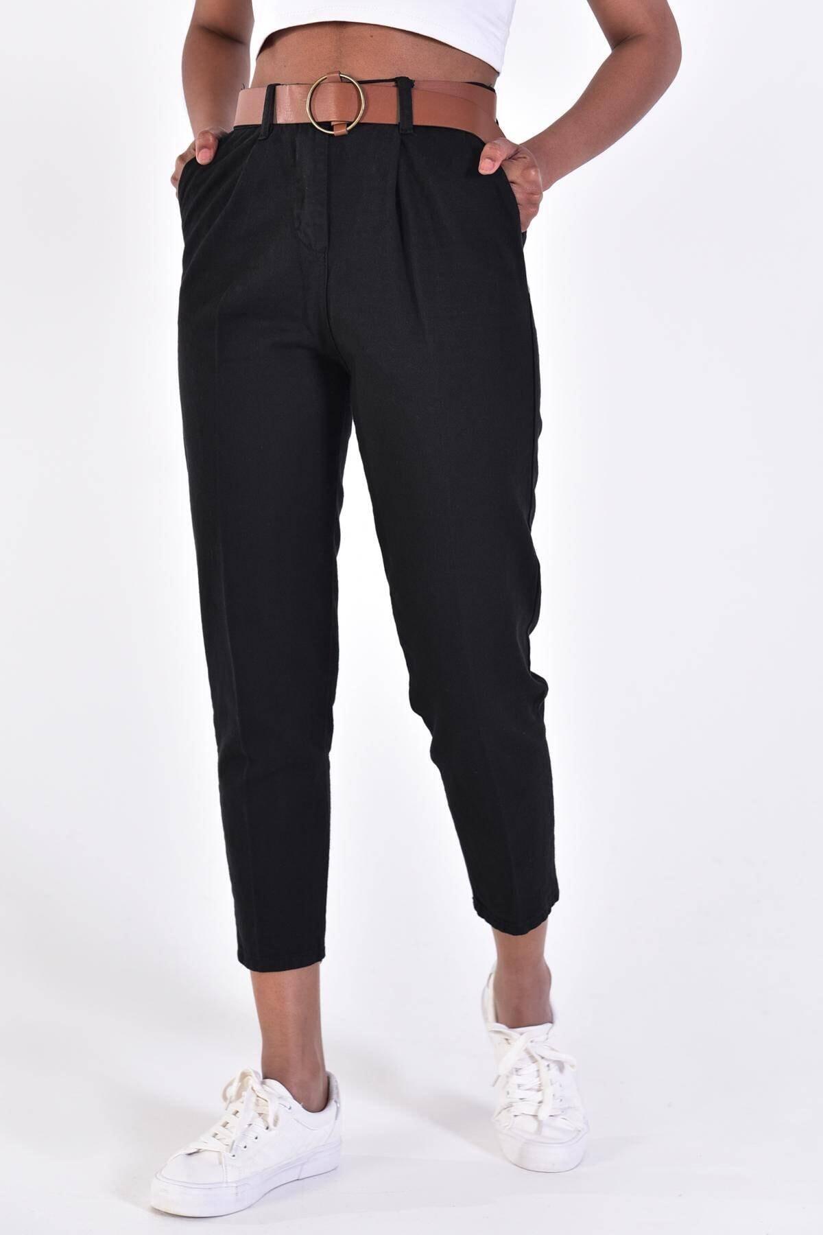 Addax Kadın Siyah Kemerli Pantolon PN4204 - DK1 ADX-0000020952