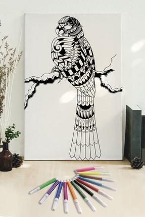 Hediyeler Kapında 50x70 Papağan Boyanabilir Kanvas Mandala Tuval + 12'li Keçeli Kalem