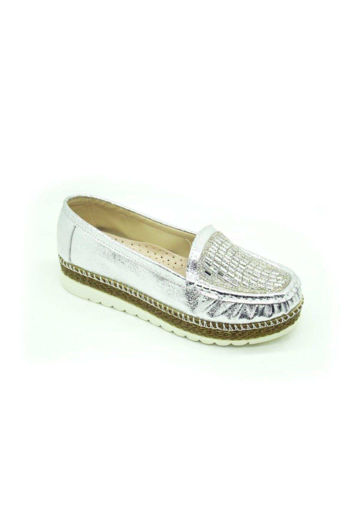 PUNTO 642310 Bayan Gümüş Taşlı Bayan Yuksek Taban Ayakkabı 1
