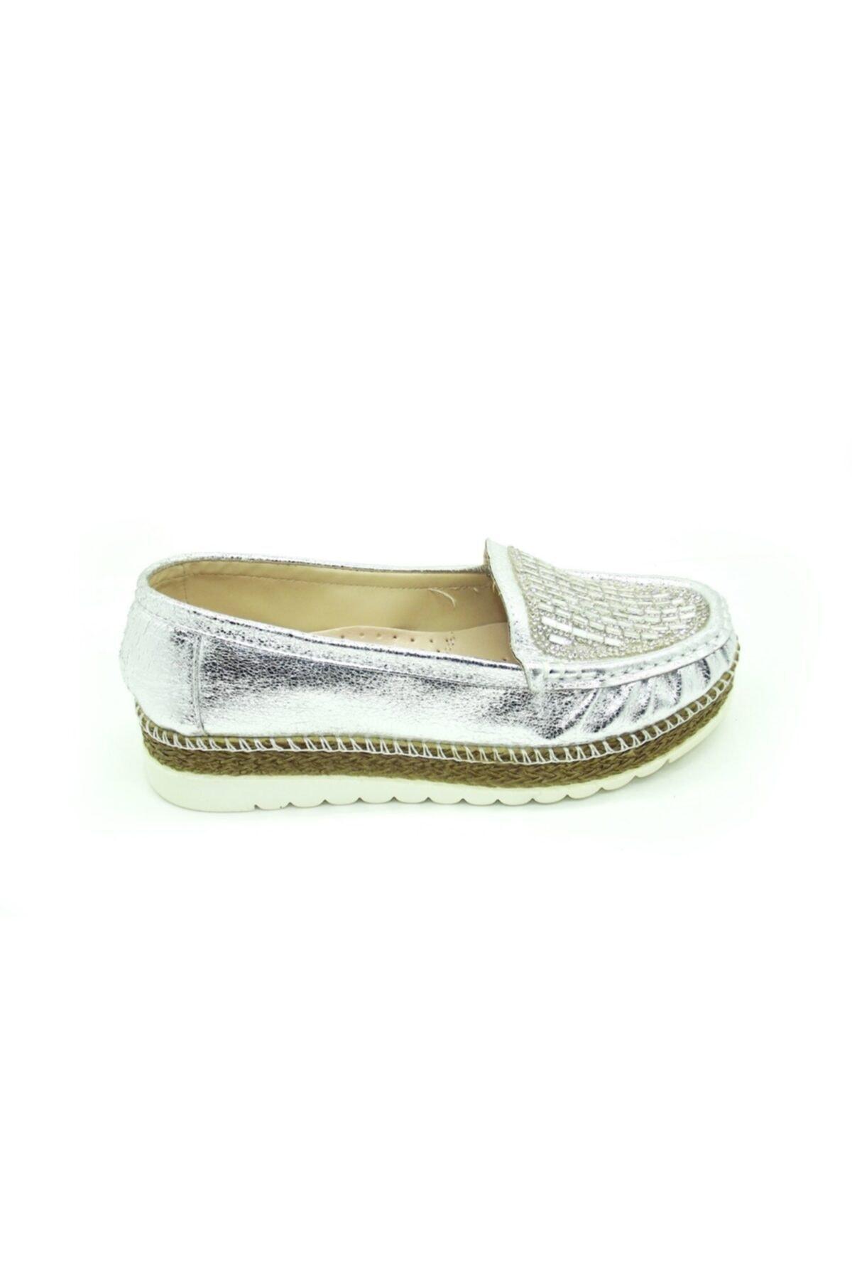 PUNTO 642310 Bayan Gümüş Taşlı Bayan Yuksek Taban Ayakkabı 2