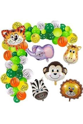 MERİ PARTİ 100 Adet Balon 5 Adet Safari Folyo Balon Ve Balon Zinciri Safari