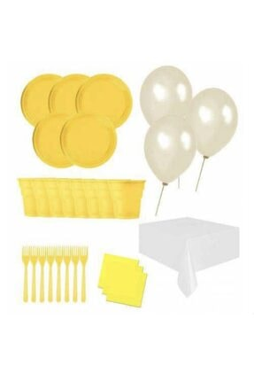 Roll-Up 25 Kişilik Ekonomik Sarı Konseptli Doğum Günü Parti Seti - Doğum Günü Parti Malzemeleri