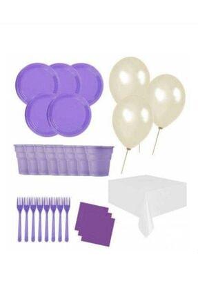 Roll-Up 25 Kişilik Ekonomik Mor Konseptli Doğum Günü Parti Seti - Doğum Günü Parti Malzemeleri