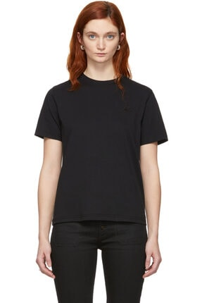 ALEXANDER MCQUEEN Sıfır Yaka Siyah Uniseks T-shirt