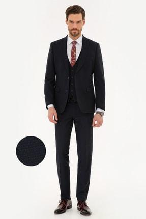 Pierre Cardin Erkek Lacivert Ekstra Slim Fit Yelekli Takım Elbise