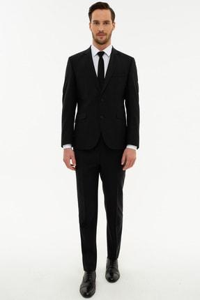 Pierre Cardin Erkek Siyah Ekstra Slim Fit Yelekli Takım Elbise