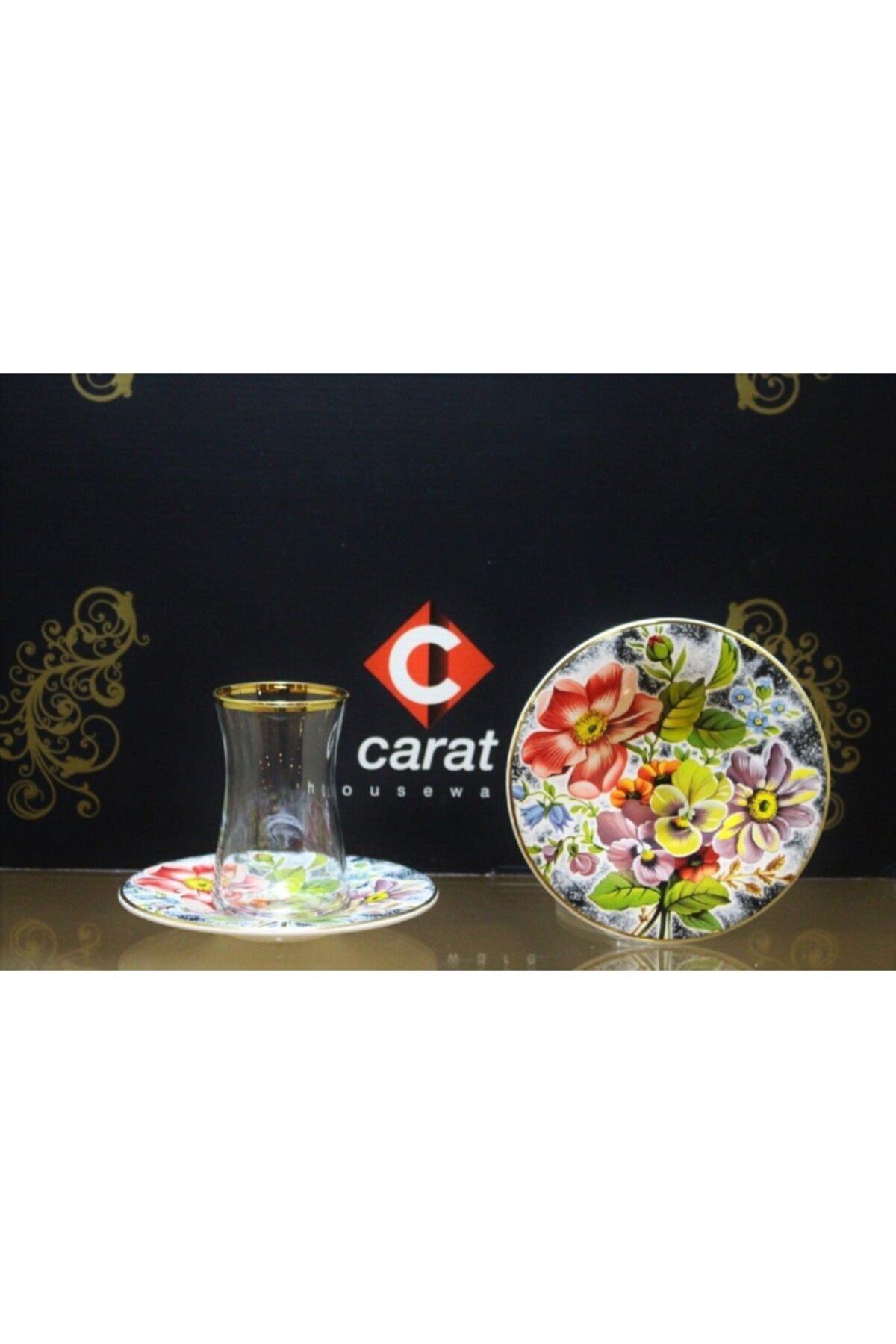 çerçi Carat 6 Lı Çay Bardağı Seti Mavi Çiçek 1