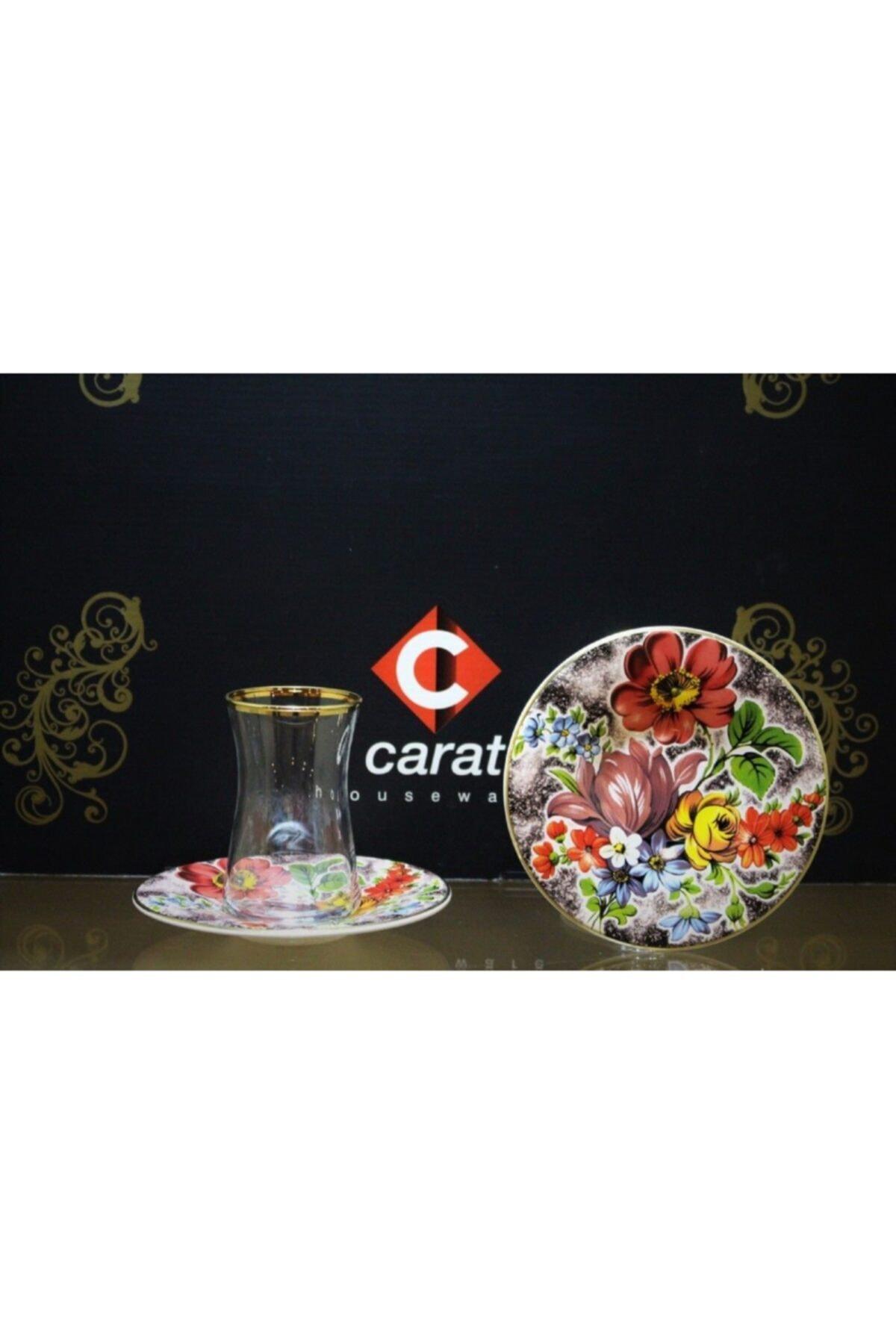 çerçi Carat 6 Lı Çay Bardağı Seti Eflatun Çiçek 1