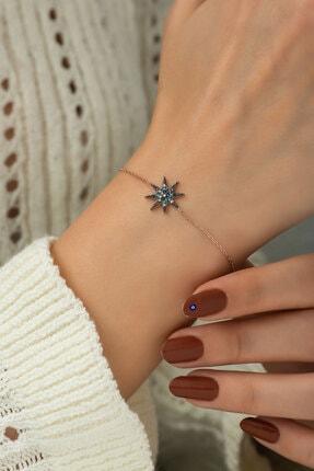Papatya Silver 925 Ayar Rose Altın Kaplama Gümüş Yıldız Bileklik