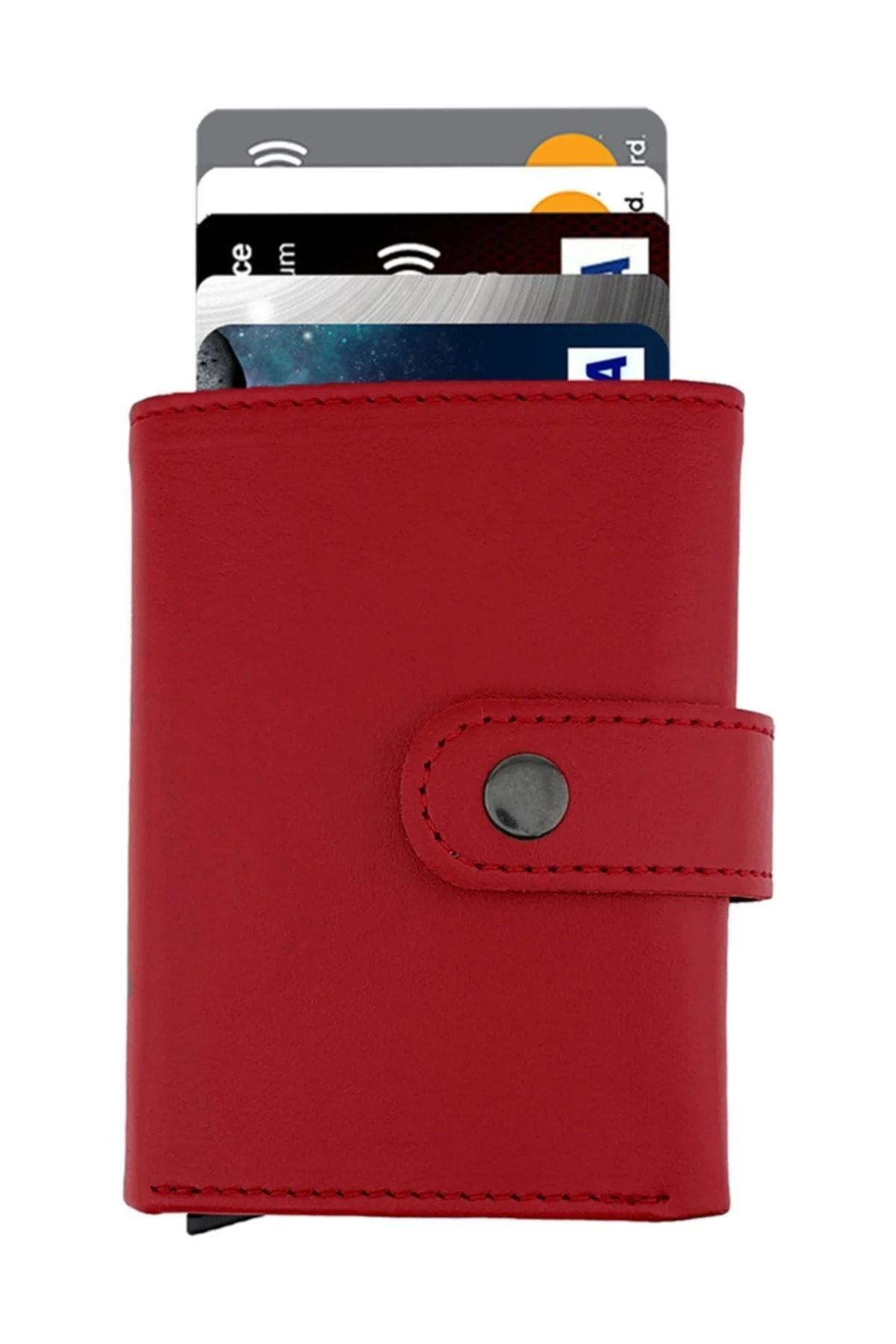 Garbalia Mekanizmalı Kırmızı Kartlık Cüzdan Portföy 2
