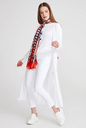 Gusto Kadın Beyaz Uzun Triko Hırka 20YGS0T004