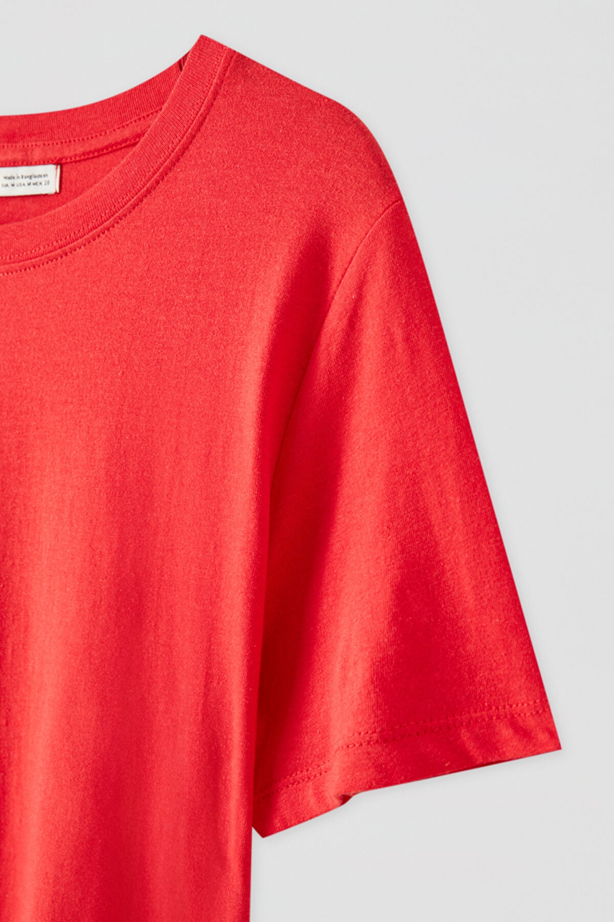 Pull & Bear Kadın Kırmızı Kısa Kollu Basic T-Shirt 05244357 2