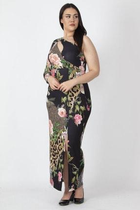 Şans Kadın Renkli Tek Omuzlu Göğüs Detaylı Yıtmaçlı Uzun Elbise 65N16192