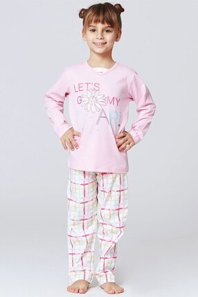 ROLY POLY Kız Çocuk V Yaka Süprem Penye Özel Tasarım Pembe Pijama Takım (2853) (1-4 Yaş)