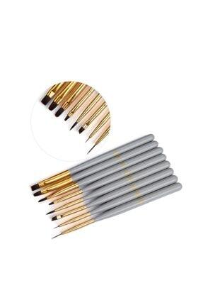 TNL 8'li Lüx Jel Ve Nail Art Fırça Takımı Gri