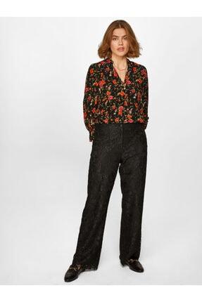 Faik Sönmez Kadın Siyah Wide Leg Fit Dantel Pantolon 60539 U60539