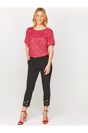 Faik Sönmez Kadın Siyah Slim Fit Paçası Delik İşli Kumaş Pantolon 60540 U60540