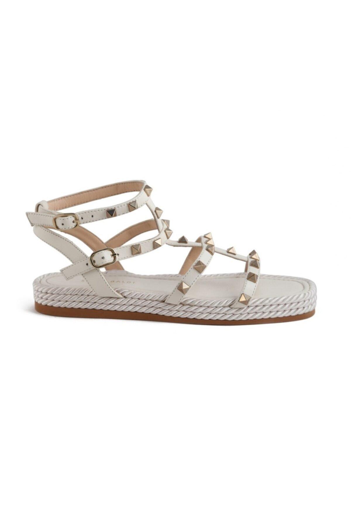Sofia Baldi Cıclamıno Beyaz Deri Pimli Kadın Düz Sandalet 1