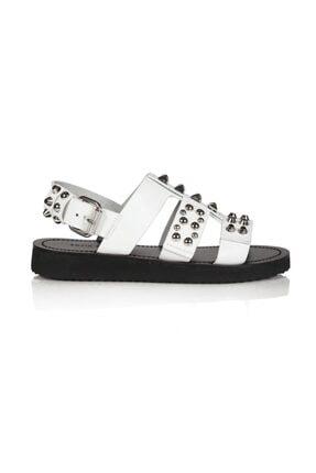 Sofia Baldi Bice Beyaz Deri Pimli Kadın Düz Sandalet