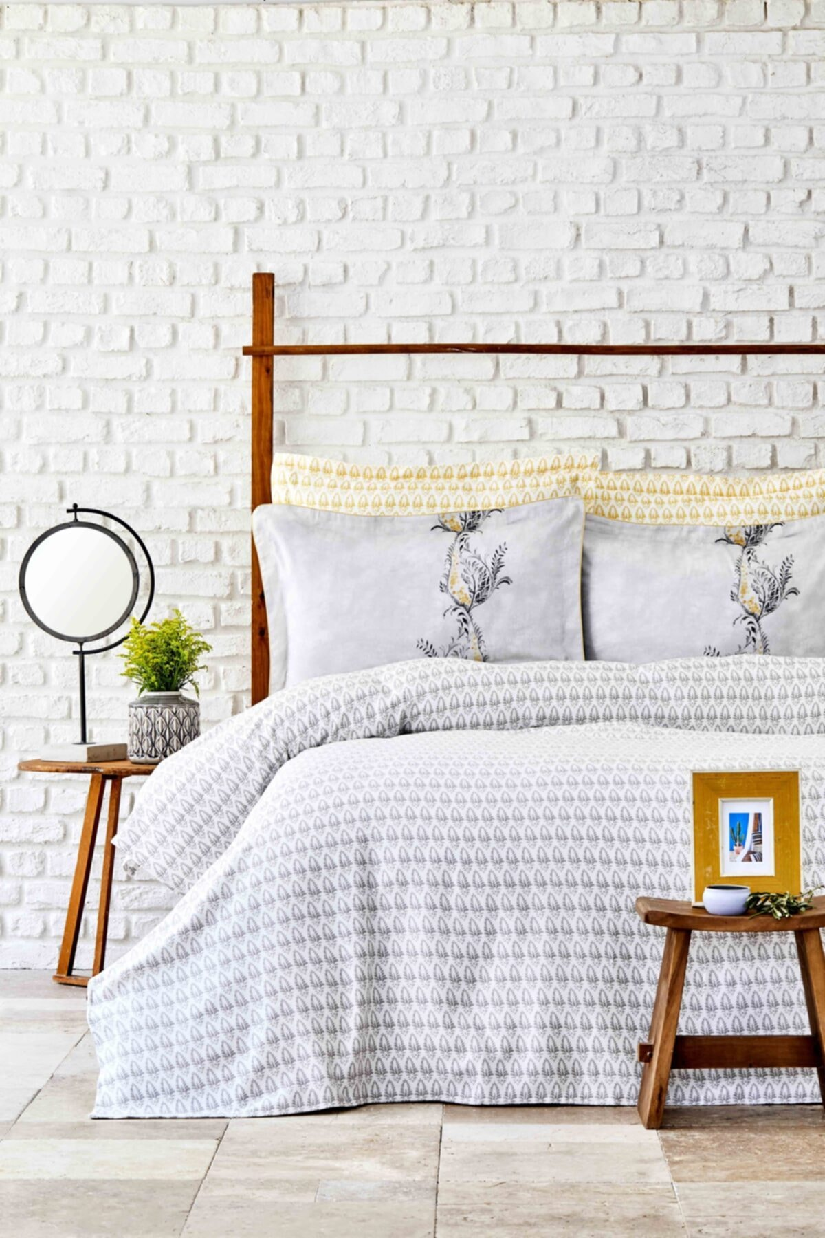 Karaca Home Veronica Gri Pamuk Çift Kişilik Pike Yastık Set 1