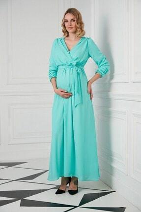 Görsin Hamile Gör&sin Kuşak Detaylı Hamile Çagla Yeşili Elbise