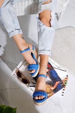 Limoya Lala Sax Süet Örgü Bantlı Hasır Dolgu Topuklu Sandalet