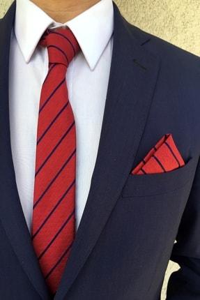 Kravatistan Kravat Mendil Seti Kırmızı Desenli
