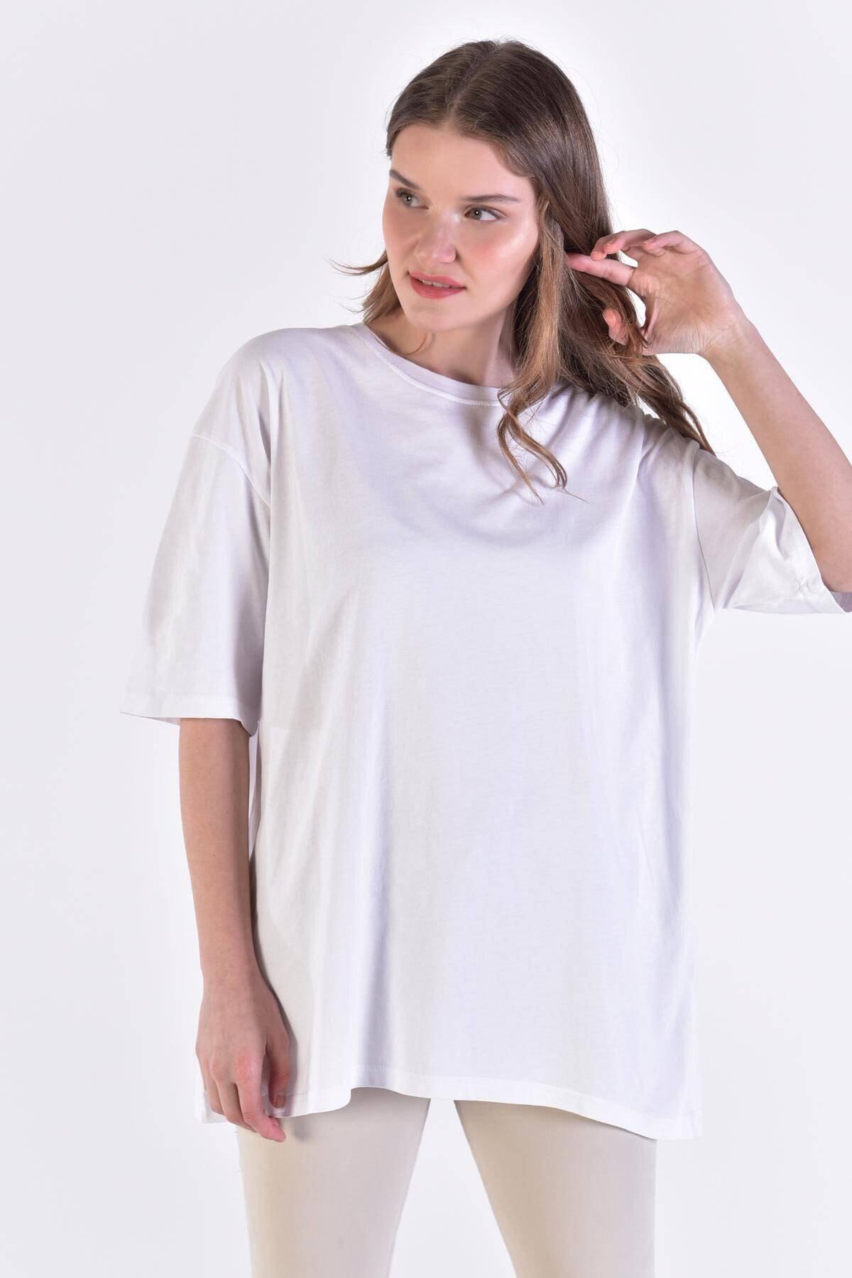 Addax Kadın Beyaz Basic Tişört P0911 - D10 ADX-0000022133 1