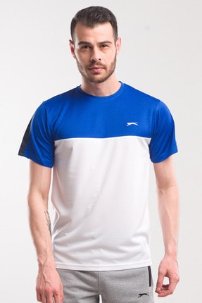 Slazenger TEXAS Erkek T-Shirt Beyaz / Saks Mavi ST10TE143