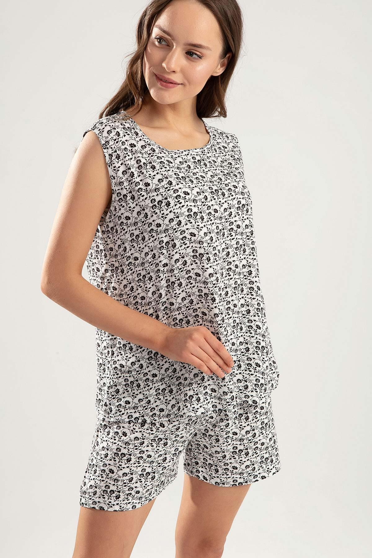 Y-London Kadın Beyaz Siyah Sıfır Kol Atlet Şort Çiçekli Pijama Takımı Y20S110-6478-1 1