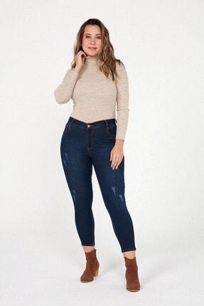 By Saygı Kadın Mavi Yüksek Bel Cebi Verev Nakışlı Likra Pantolon Mavi S-20K1060008