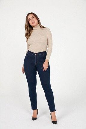 By Saygı Kadın Mavi Yüksek Bel Cebi Baklava Nakışlı Likra Pantolon Mavi S-20K1060004