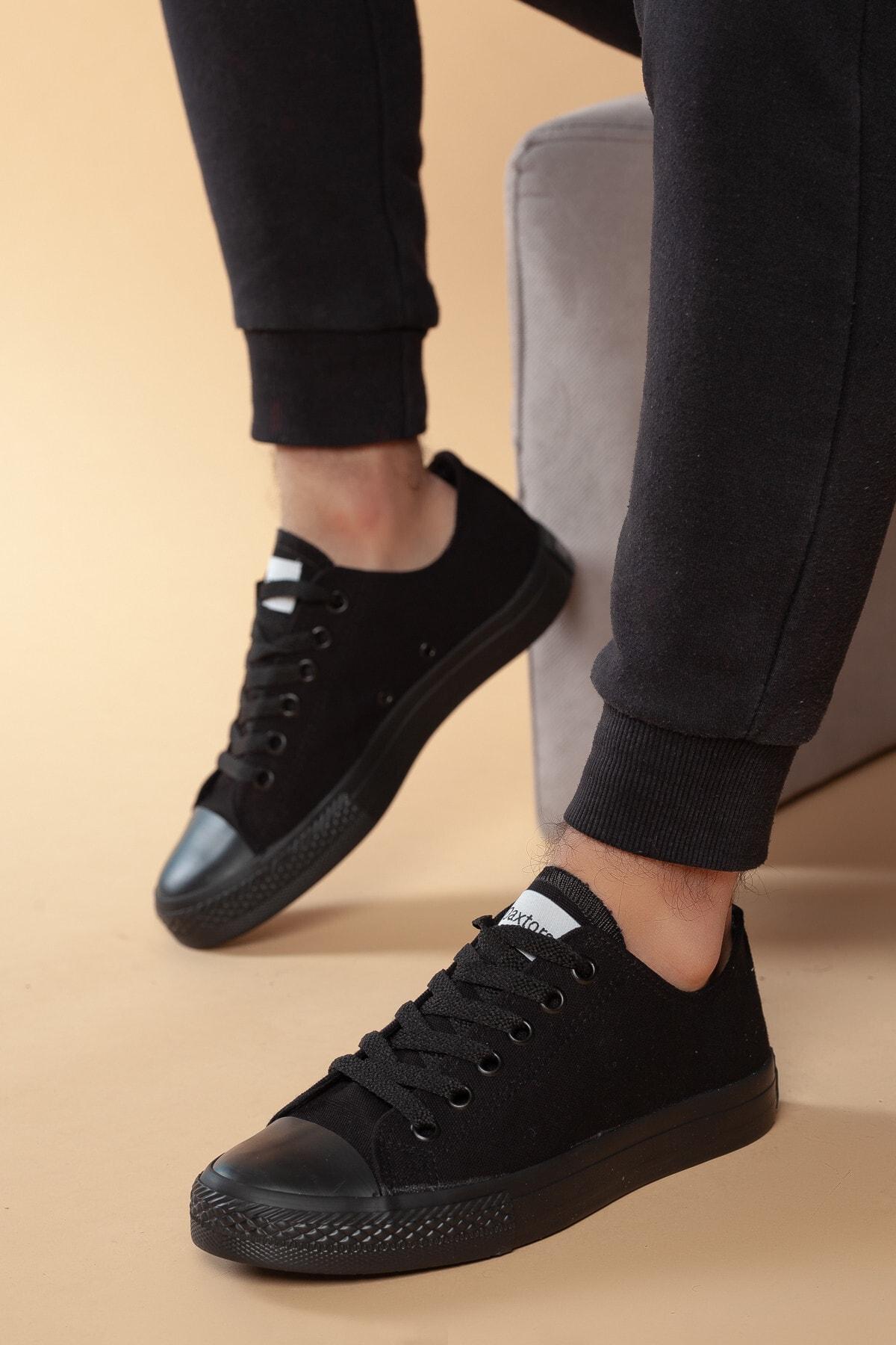 Daxtors Siyah Günlük Ortopedik Erkek Keten Spor Ayakkabı  DXTRMCONT005 1
