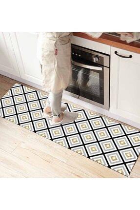 Else Halı Geometrik 3d Desenli Ince Mutfak Halısı