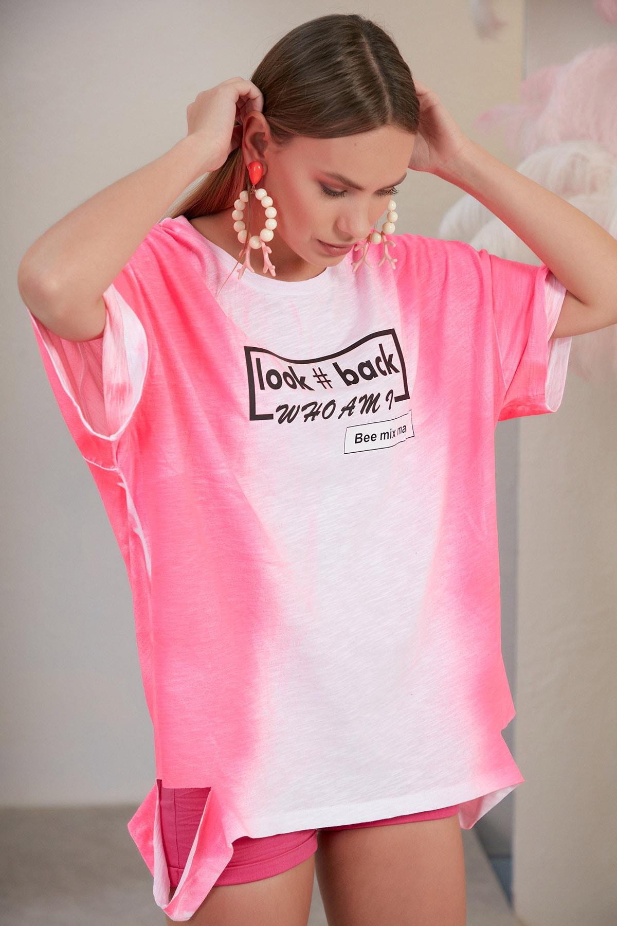 SONESTA Kadın Pembe Beyaz Whoamı T-shirt 1
