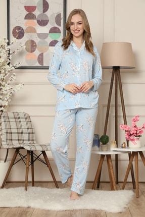 ARCAN Çiçek Desenli Önden Düğmeli Uzun Kollu Pijama Takımı