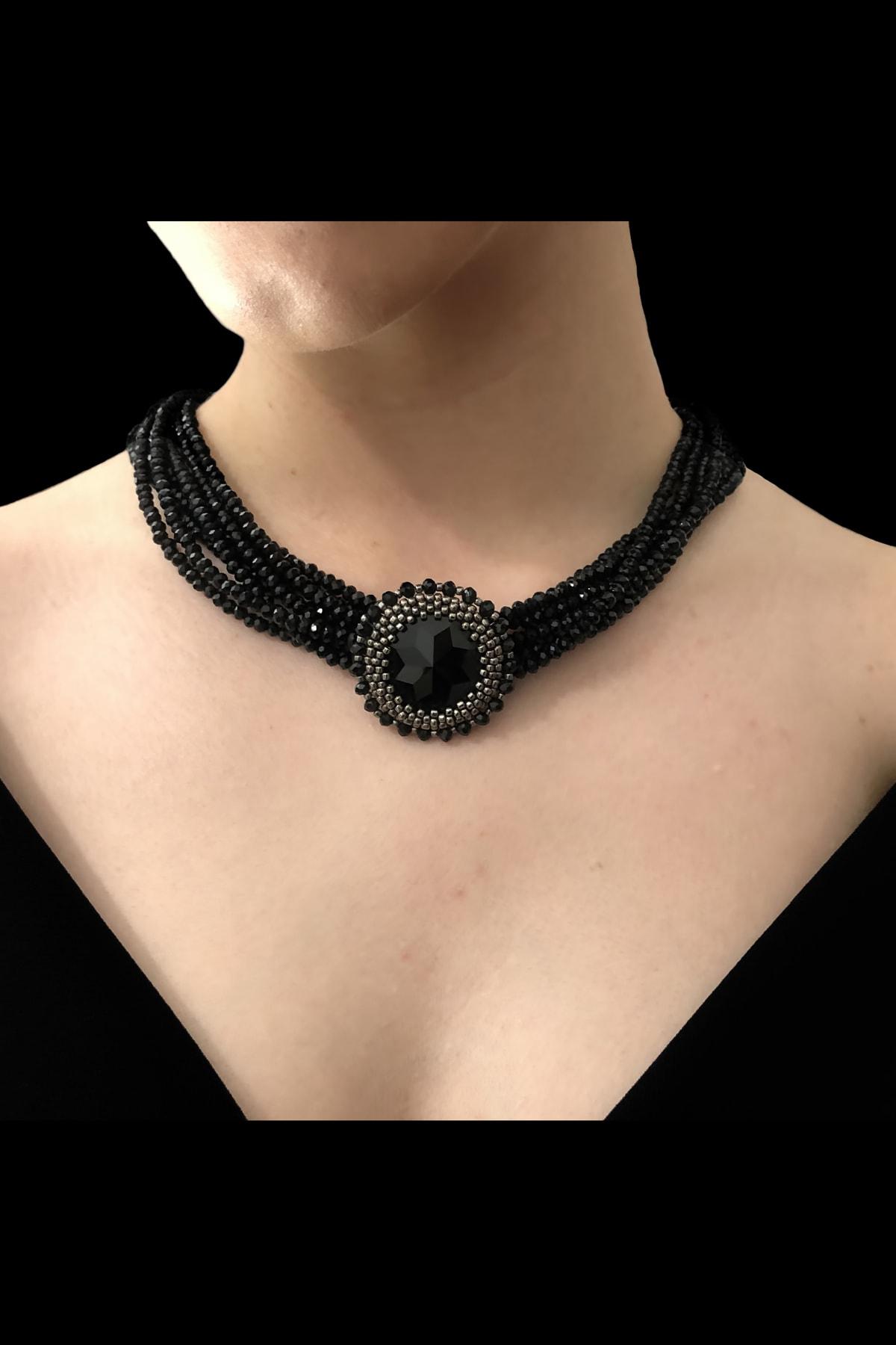 Mavra Handmade Kadın Siyah Kristal Boncuk Kolye 1