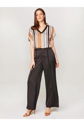 Faik Sönmez Kadın Siyah Wide Leg Fit Kumaş Pantolon 60547 U60547