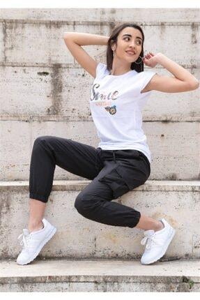 Giyim Dünyası Kadın Kargo Cep Siyah Pantolon 9043