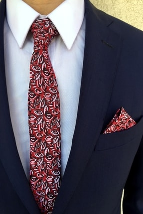 Kravatistan Kırmızı Desenli Kravat Mendil Seti