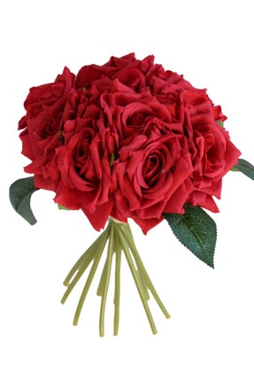 Yapay Çiçek Deposu 10lu Lüx Gul Demeti 25 Cm Kırmızı