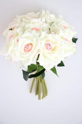 Yapay Çiçek Deposu 10lu Lüx Gul Demeti 25 Cm Beyaz-pudra