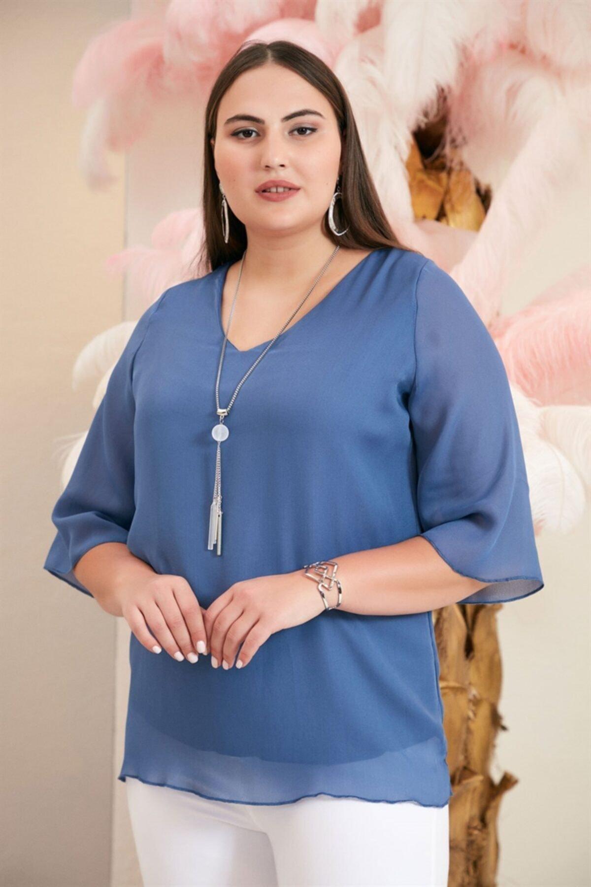 RMG Kol Detaylı Aksesuarlı V Yaka Büyük Beden Indigo Bluz 2