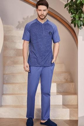 Mecit Pijama By Mecit 2754 Kısa Kollu Mavi Erkek Pijama Takımı