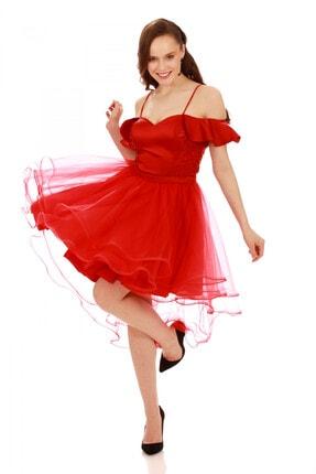 6ixty8ight Kırmızı Askılı Tüllü Kısa Abiye Elbise